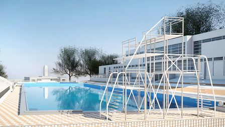 The diving board will be restored at the rebuilt Broomhill lido. Picture: KLH Architects