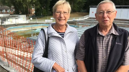 Gill and Dick Abbott at Broomhill Pool. Picture: PAUL GEATER