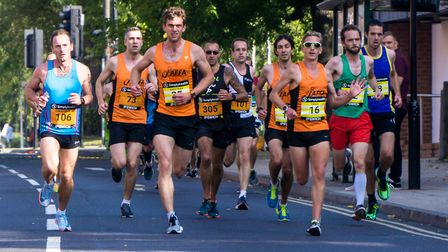 One of the leading packs of runners at the Great East Run in Ipswich yesterday. Picture: STEPHEN