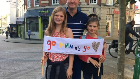 Zoe and Ali Peck, 13 and 10, with their dad Andrew were cheering on Helen Peck and her friend Julie