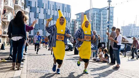 The bananas in pyjamas are pictured on the waterfront. Picture: STEPHEN WALLERWWW.STEPHENWALLE