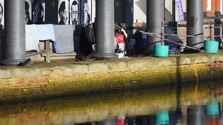 A group of homeless were camped on Ipswich Waterfront earlier this year. Picture: GREGG BROWN