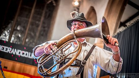 An oompah band from Stowmarket provided the music at the Saints Oktoberfest. Picture: DARIO VITELLIN