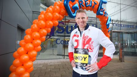 Andy Vernon - Team GB middle distance athlete, at the official launch of the Great East Run, Endeavo
