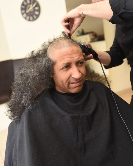 Brave the shave at Howies Barber Shop. Getting the chop is Chris Ward. Picture: GREGG BROWN