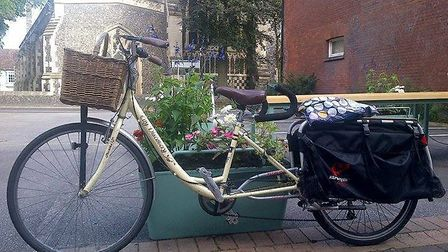 Anna Matthews' unique bicycle that was stolen from outside her home in Norwich Road, Ipswich. Pictur