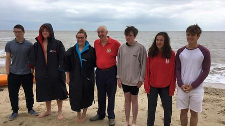 The team of young swimmers, joined by Michael Read, during training for their cross-Channel challeng
