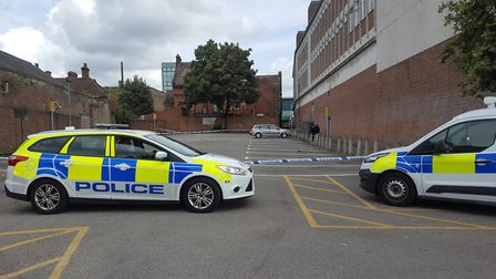 The police cordon in Tacket Street car park. Picture: ARCHANT