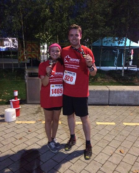 Sarah Rowe and Jacob Charles from Inspire Suffolk running the Ipswich Twilight 10K.