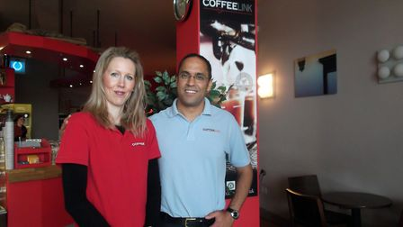 Azzouz El-Mahraoui and wife Rebecca at their cafe in Ipswich Waterfront. Picture: DAVE VINCENT