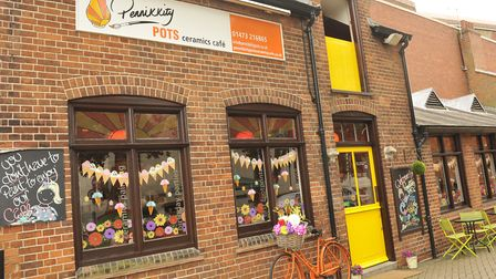 Pennykitty Pots in Ipswich, coffee and ceramics painting. Picture: SU ANDERSON