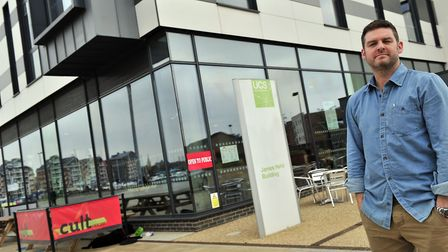 Mike Keen of Cult Cafe in the James Hehir Building on Ipswich Waterfront. Picture: LUCY TAYLOR
