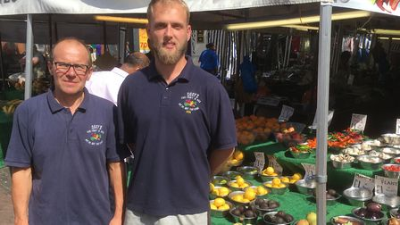 Mick Catchpole and Ian Buxton from Coxy's Fruit and Veg stall at Ipswich Market. Picture: PAUL GEATE