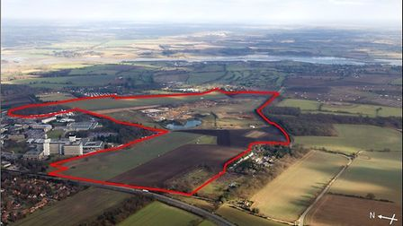 The area around Adastral Park at Martlesham Heath which could be developed with 2,000 homes and a ne