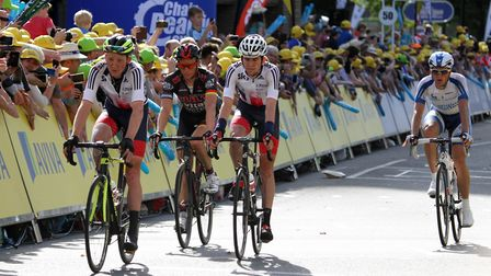 Riders at the finish of the seventh stage of the Tour of Britain in 2015, in Ipswich. Picture: SIMON