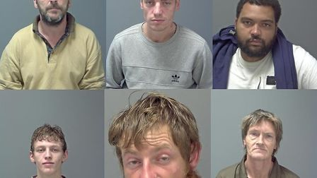 Six heroin dealers sentenced after undercover police operation in Ipswich. Top row, from left: John