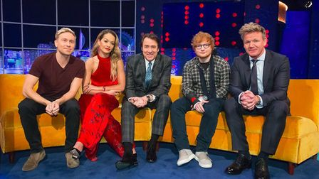 Ed Sheeran talks about his recent bike accident on The Jonathan Ross Show, Saturday October 21, 10.2