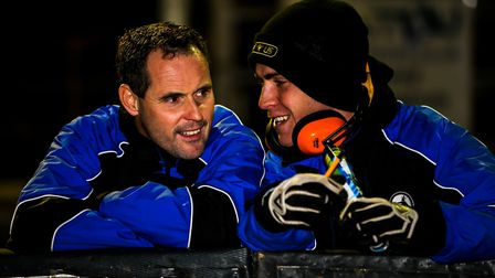 Witches Director of Speedway Chris Louis, left, and team manager Ritchie Hawkins plot the team's KOC