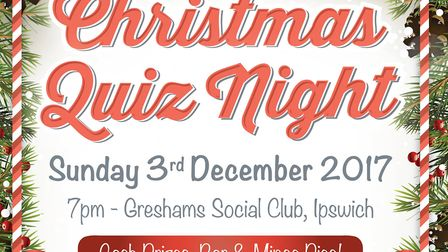 The charity quiz is taking place at Greshams.