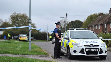 Police at the scene of a stabbing in Waterford Road, Ipswich. Picture: SARAH LUCY BROWN