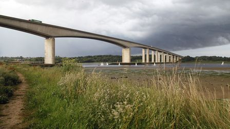 Stormy skies over the Orwell Bridge. Picture: MICK WEBB
