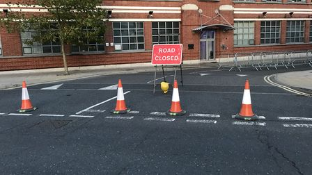 Portman Road is shut at its junction with Princes Street. Picture: ARCHANT
