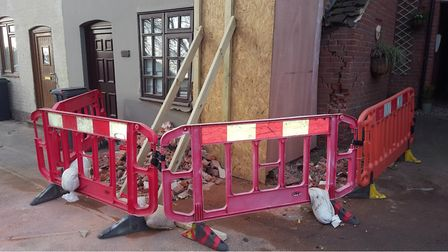 A car left the road and crashed into a house in Great Blakenham. Picture: ARCHANT
