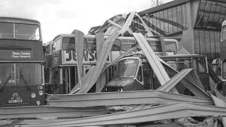 Destruction to Ipswich bus station after The Great Storm. Picture: ARCHANT