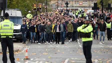 Fans walking from Ipswich station to Portman Road before the match with Norwich - there was some tro