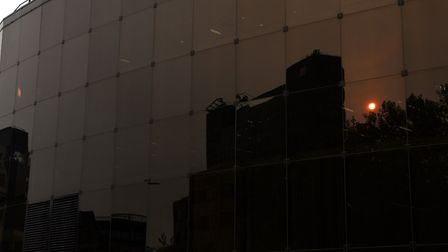 The Willis building reflecting the unusual red sky. Picture: SARAH LUCY BROWN