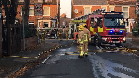 Foxhall Road in Ipswich was shut this afternoon while fire crews tackled a blaze at Hope Mews. Pictu