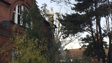 Crews at the scene of a fire at Hope Mews, at the junction of Foxhall Road with Alan Road in Ipswich