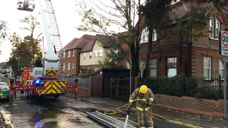Fire crews at the scene of a blaze at the Hope Mews block of flats on Foxhall Road. Picture: ADAM HO