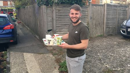 After the fire had been extinguished, Josh Lea, who lives nearby, brought out cups of tea for all th