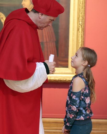Cardinal Wolsey meets Chloe Holland. Picture: NIGE BROWN.