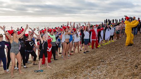 The Christmas Day Dip 2016 at Felixstowe. Picture: HARMAN HOPKINS