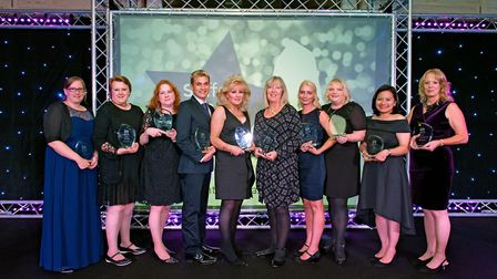 The award winners take the stage at the Suffolk Care Awards 2017. Picture: SIMON LEE/SUFFOLK BROKERA