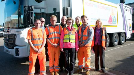 Ipswich mayor Sarah Barber with the Ipswich Borough Council refuse team during her morning on the ro
