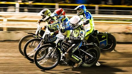 From the inside: Danny King, Kyle Howarth, Nathan Greaves and Jan Graversen in action during heat 11