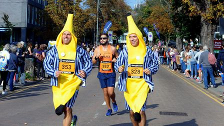 Banana men Craig Fookes and Adam Williams taking part in Sunday's race. Picture: ANDY ABBOTT