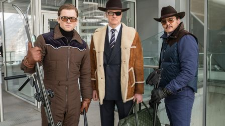 Taron Egerton as Eggsy, Colin Firth as Harry Hart and Pedro Pascal as Jack Daniels in Kingsman: The