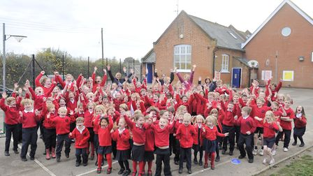 Pupils at Henley Primary School celebrate the Outstanding Ofsted rating in 2014. Picture: SU ANDERSO