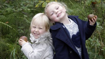 Annual Apple Day at Holywells Park. Isabelle Lipscombe and Isabella Smart pictured. Picture: NIGEL B