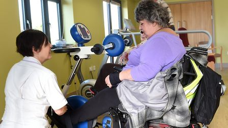 Linda Moore with Jacky Baker at the hospice. Picture: ST ELIZABETH HOSPICE