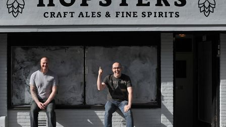 Steve Long and Ed Barnes outside their new shop Hopsters in Ipswich. Picture: SARAH LUCY BROWN