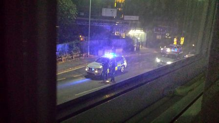 A picture of the scene of a firearms incident in Ipswich's Norwich Road taken by a nearby resident