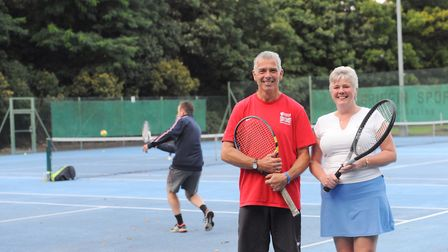 Martyn and Tracy Ward on the courts. Picture: SARAH LUCY BROWN