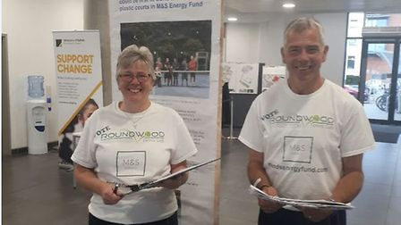 Martyn and Tracy Ward campaigning for votes for Roundwood Tennis Club at the University of Suffolk.