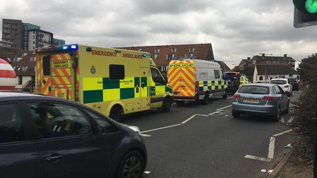 A police spokeswoman said officers were responding to reports a man was walking along Wherstead Road