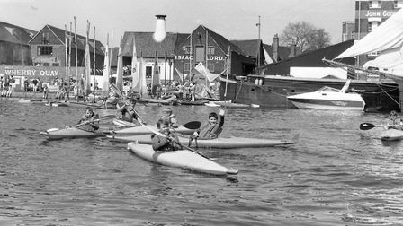 Kayaking in front of the former Malt Kiln at Isaac Lord's in 1989